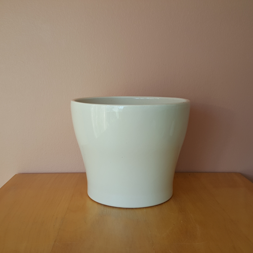 Isabel ceramic white decorative container 6 inch for indoor plants, houseplants