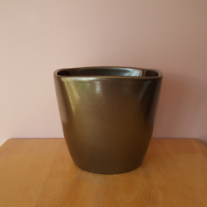Ceramic decorative houseplant container 'Rose' bronze color 6 inch