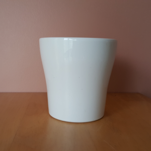 Decorative indoor plant container 'Anna' ceramic white 5 inch, available at Interiorplants.ca online and retail plant shop