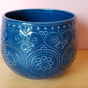 Bella 5 inch blue dark ceramic decorative container for indoor plants houseplants plant container sale Mississauga Toronto Burlington Brampton Oakville GTA