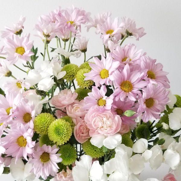 Fresh cut flowers flower bouquet Gifts for loved ones GTA Mississauga Etobicoke Toronto Brampton Oakville Burlington Milton Richmond Hill North York Daisies pink Carnations pink Dianthus white Chrysanthemums