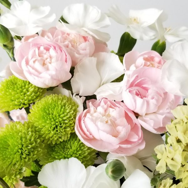 Fresh cut flowers flower bouquet Gifts for loved ones GTA Mississauga Etobicoke Toronto Brampton Oakville Burlington Milton Richmond Hill North York Carnations Delicate Pink Statice Chrysanthemums